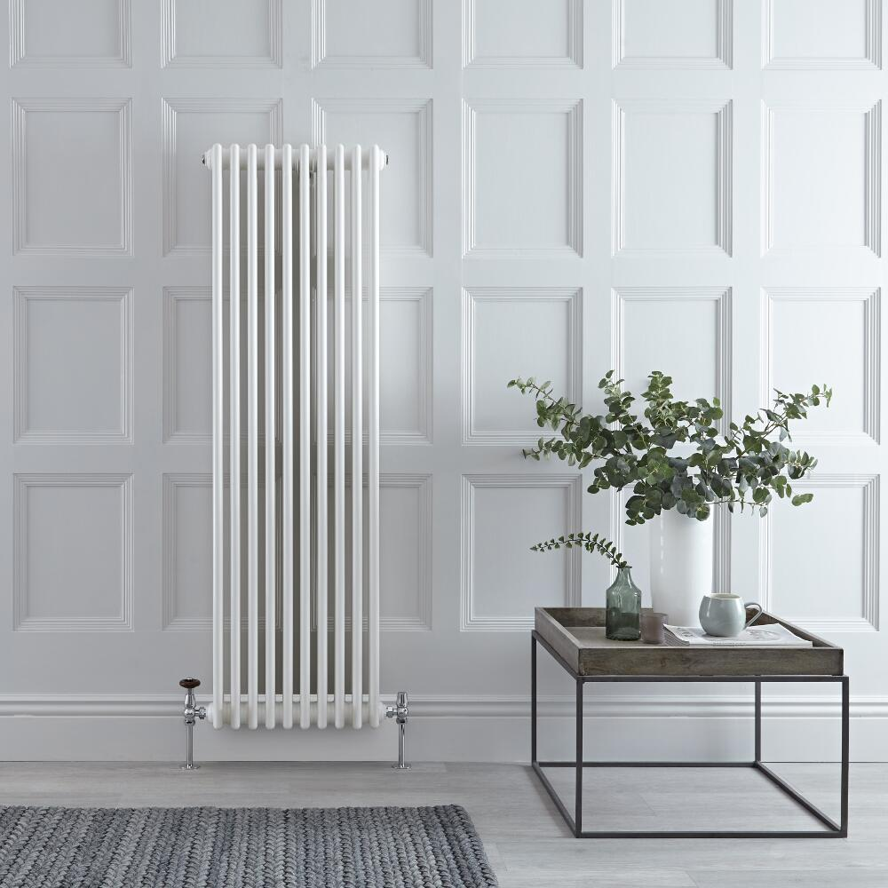 "Regent - White Vertical 3-Column Traditional Cast-Iron Style Radiator - 59"" x 18.5"""