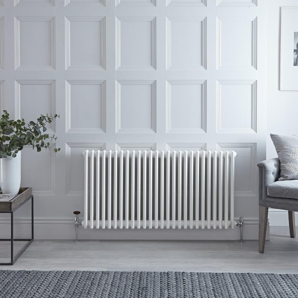 "Regent - White Horizontal 3-Column Traditional Cast-Iron Style Radiator - 23.5"" x 45.75"""