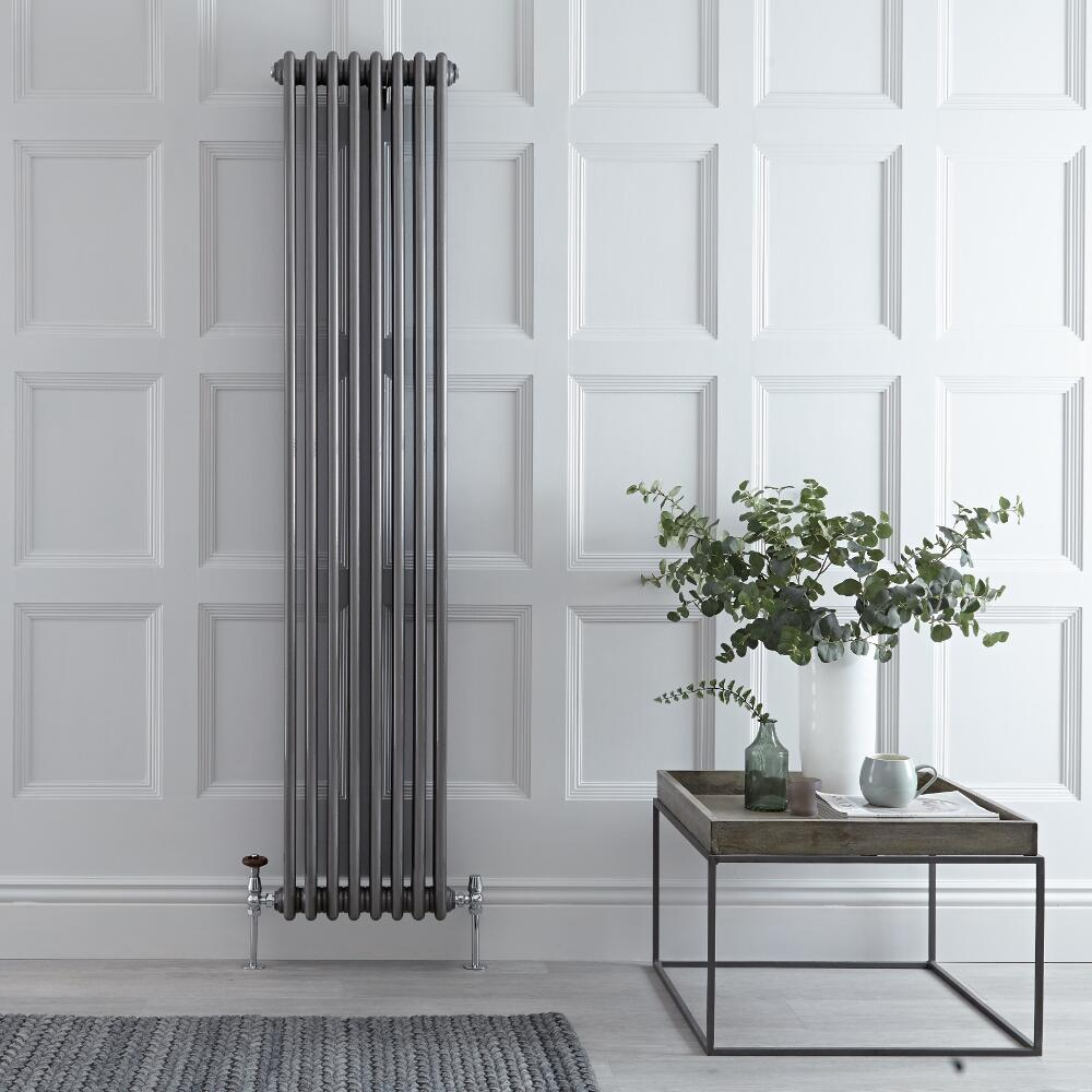 Regent - Raw Metal Lacquered Vertical 3-Column Traditional Cast-Iron Style Radiator - 70.75'' x 15''