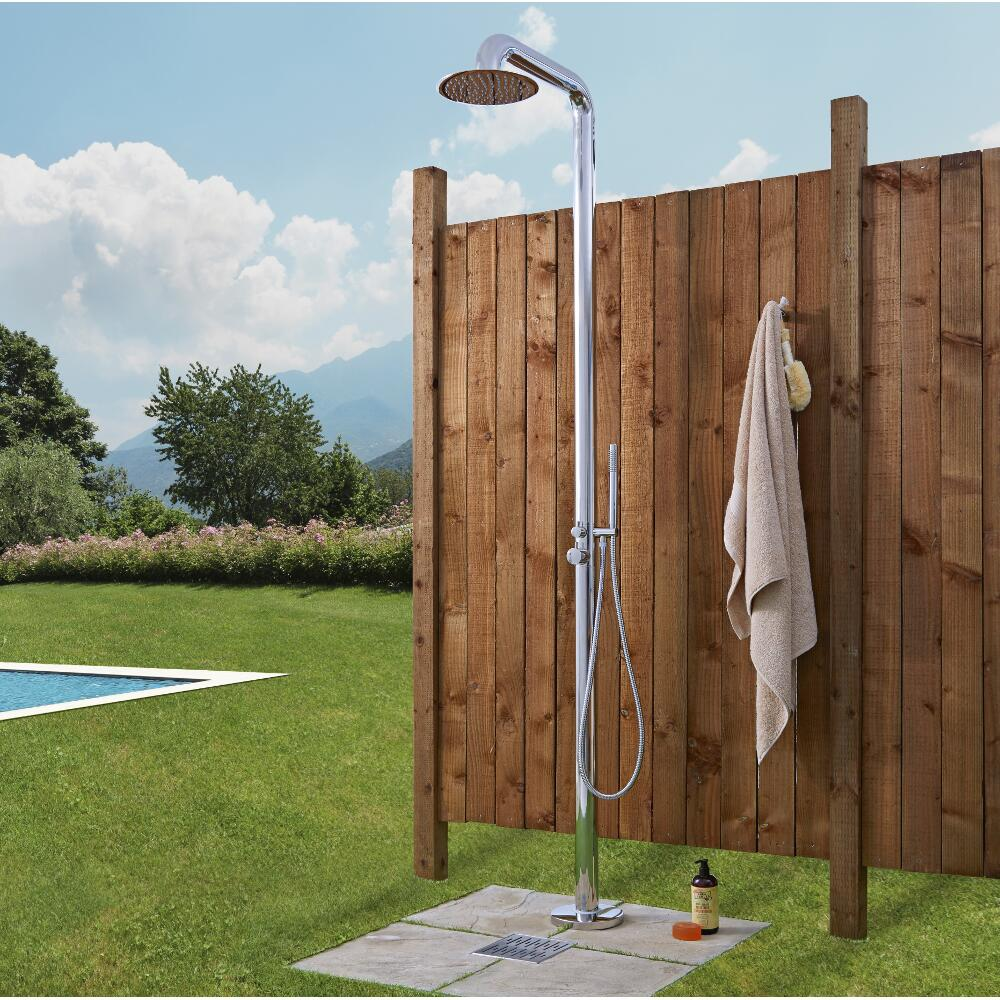 Seville - Freestanding Outdoor Shower with Handshower - Chrome