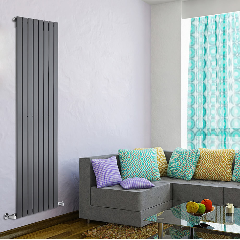 "Delta - Anthracite Vertical Single Slim-Panel Designer Radiator - 70"" x 22"""