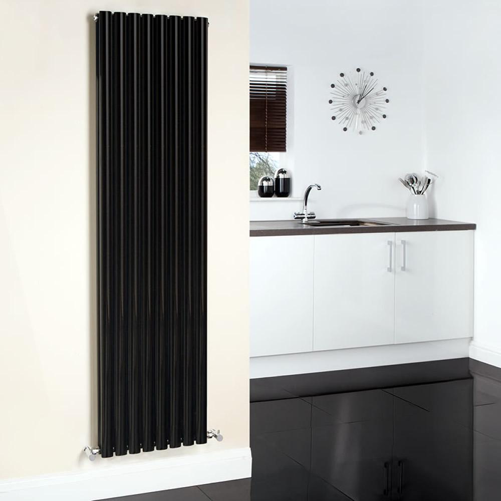 "Revive - Black Vertical Double-Panel Designer Radiator - 70"" x 18.5"""