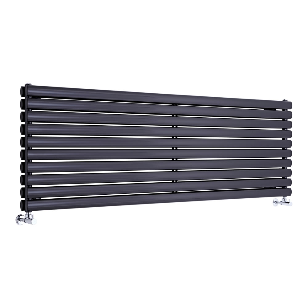 "Revive - Black Horizontal Double-Panel Designer Radiator - 23.25"" x 70"""