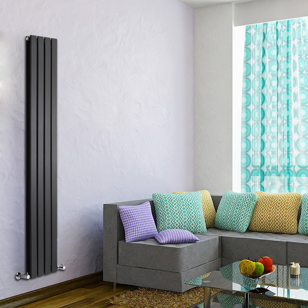 "Delta - Black Vertical Double Slim-Panel Designer Radiator - 70"" x 11"""