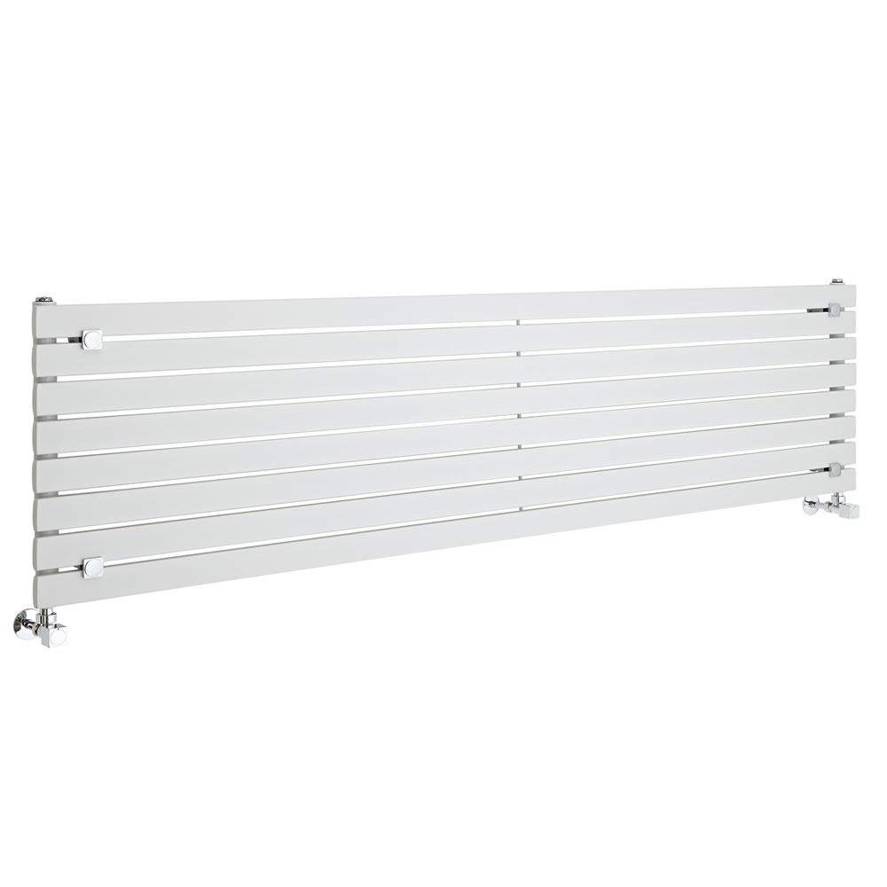 "Sloane - White Horizontal Single Flat-Panel Designer Radiator - 18.5"" x 70"""
