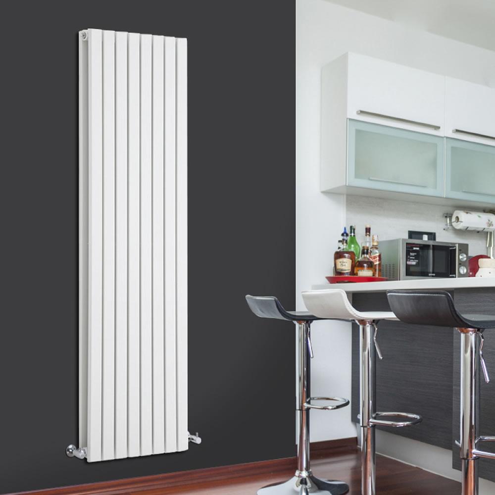 """Sloane - White Vertical Double Flat-Panel Designer Radiator - 70"""" x 18.5"""""""