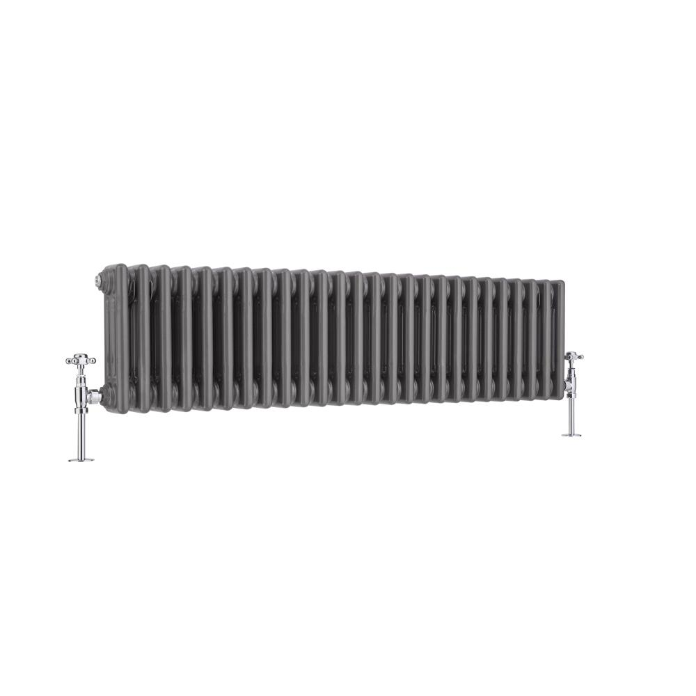 Regent - Raw Metal Lacquered Horizontal 3-Column Traditional Cast-Iron Style Radiator - 11.75'' x 47''