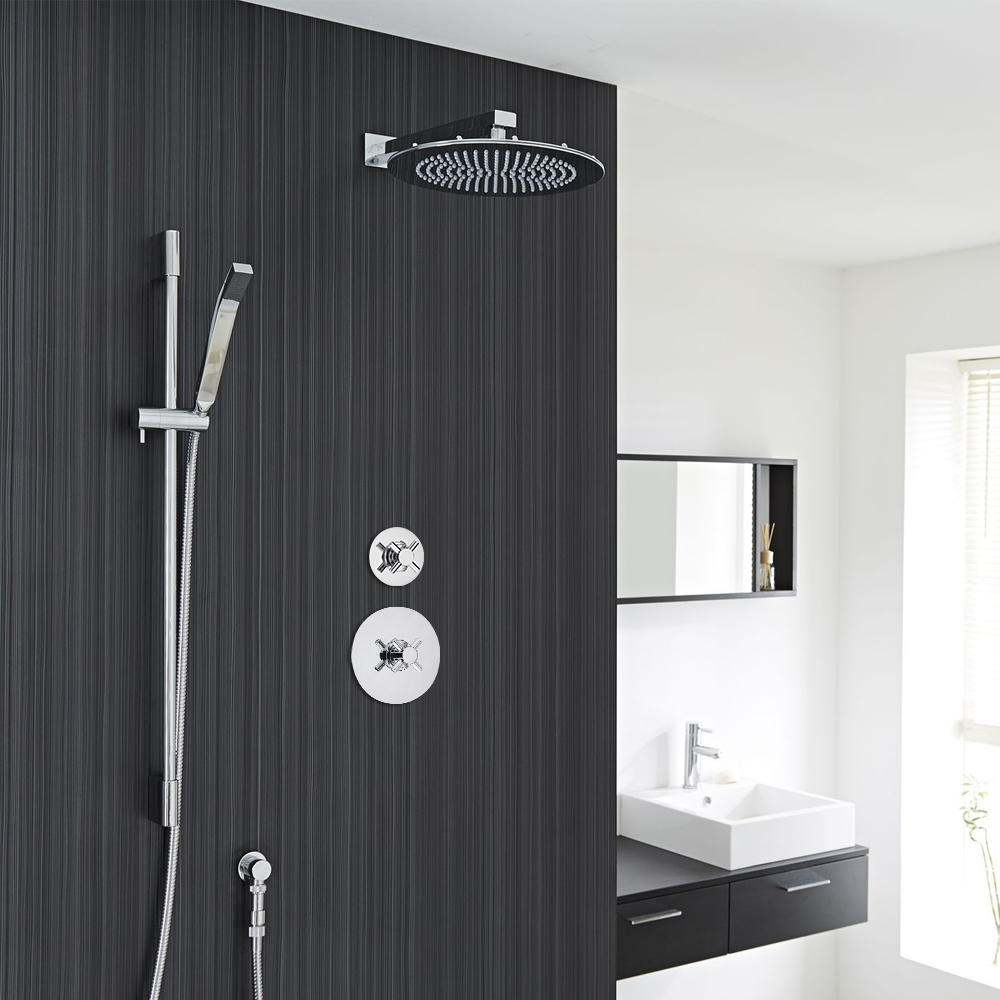 "2-Outlet Shower System with 12"" Round Head, Hand Shower & Diverter Valve"