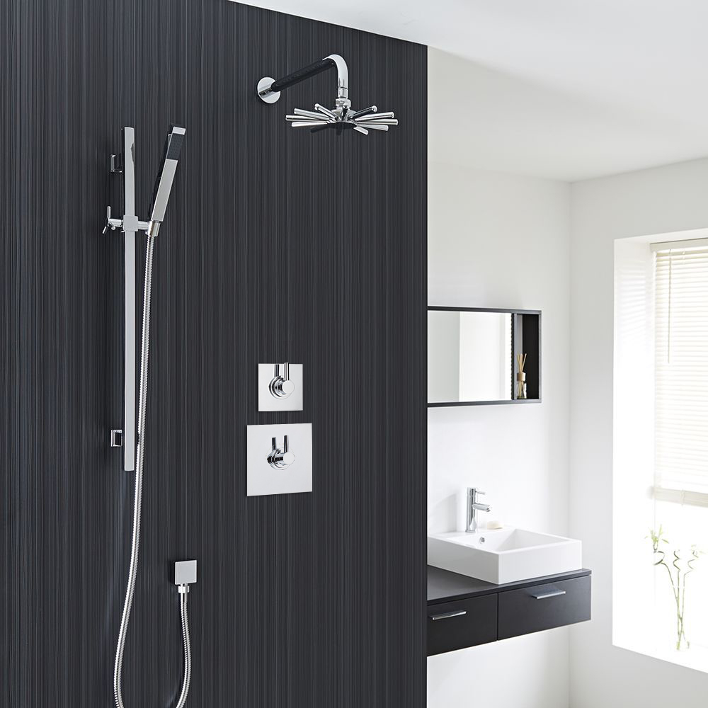 2-Outlet Shower System with Cloudburst Head, Hand Shower & Diverter Valve