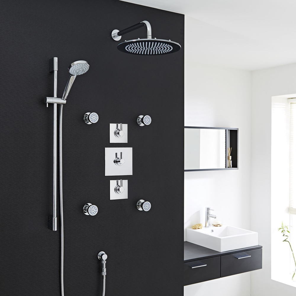"3-Outlet Shower System with 12"" Square Head, Body Jets & Diverter Valve"