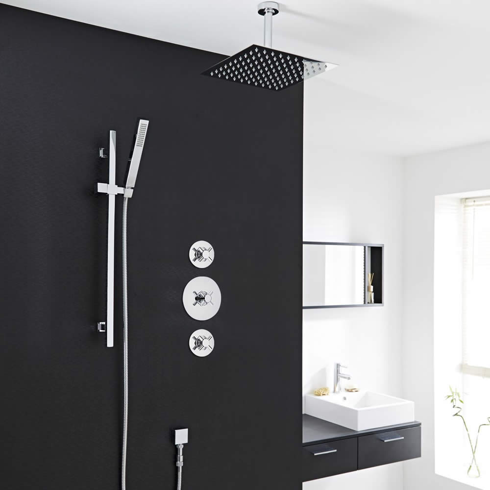 """2-Outlet Shower System with 8"""" Square Head, Hand Shower & Shut-Off Valves"""