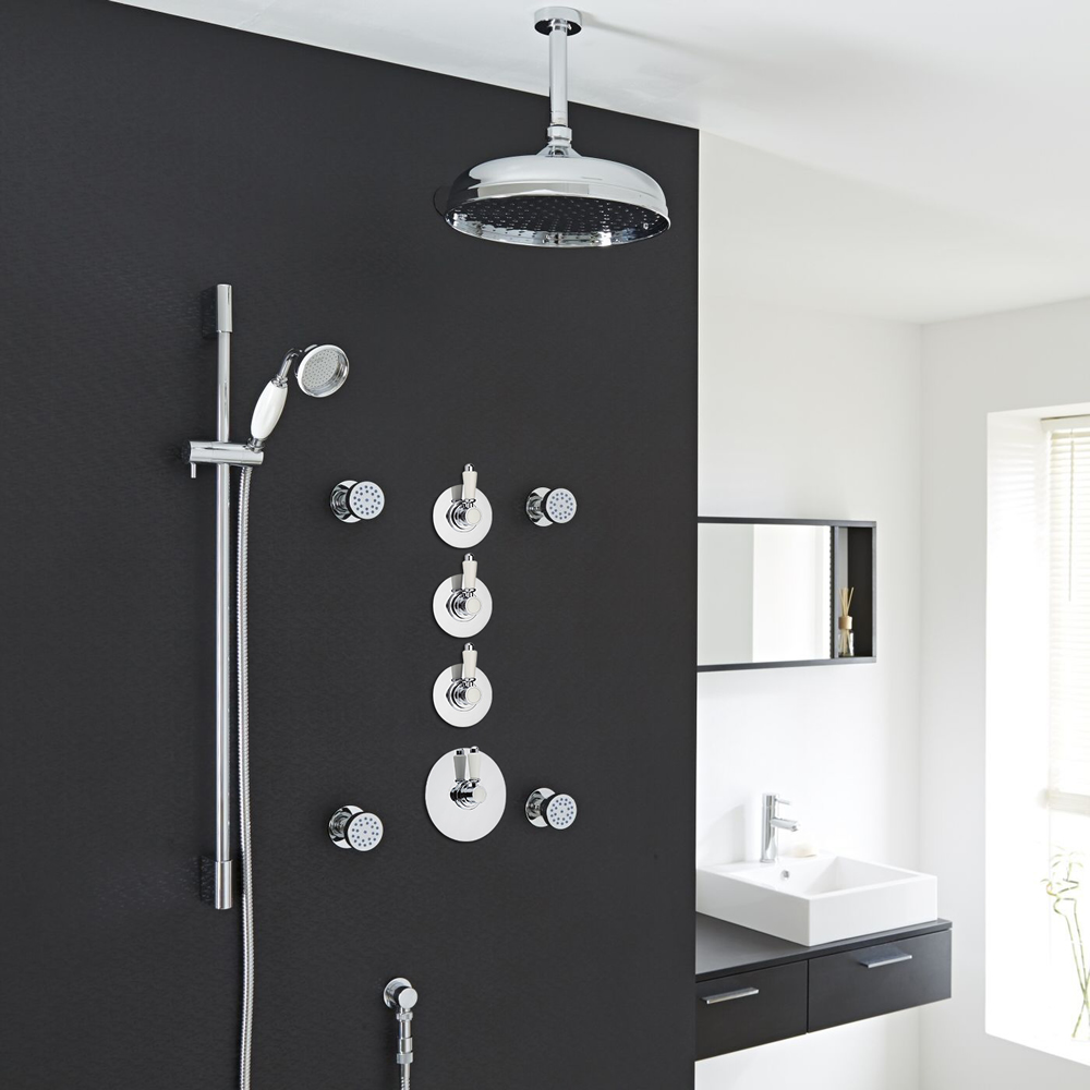 """Traditional Shower System with 12"""" Apron Head, Body Jets & Shut-Off Valves"""