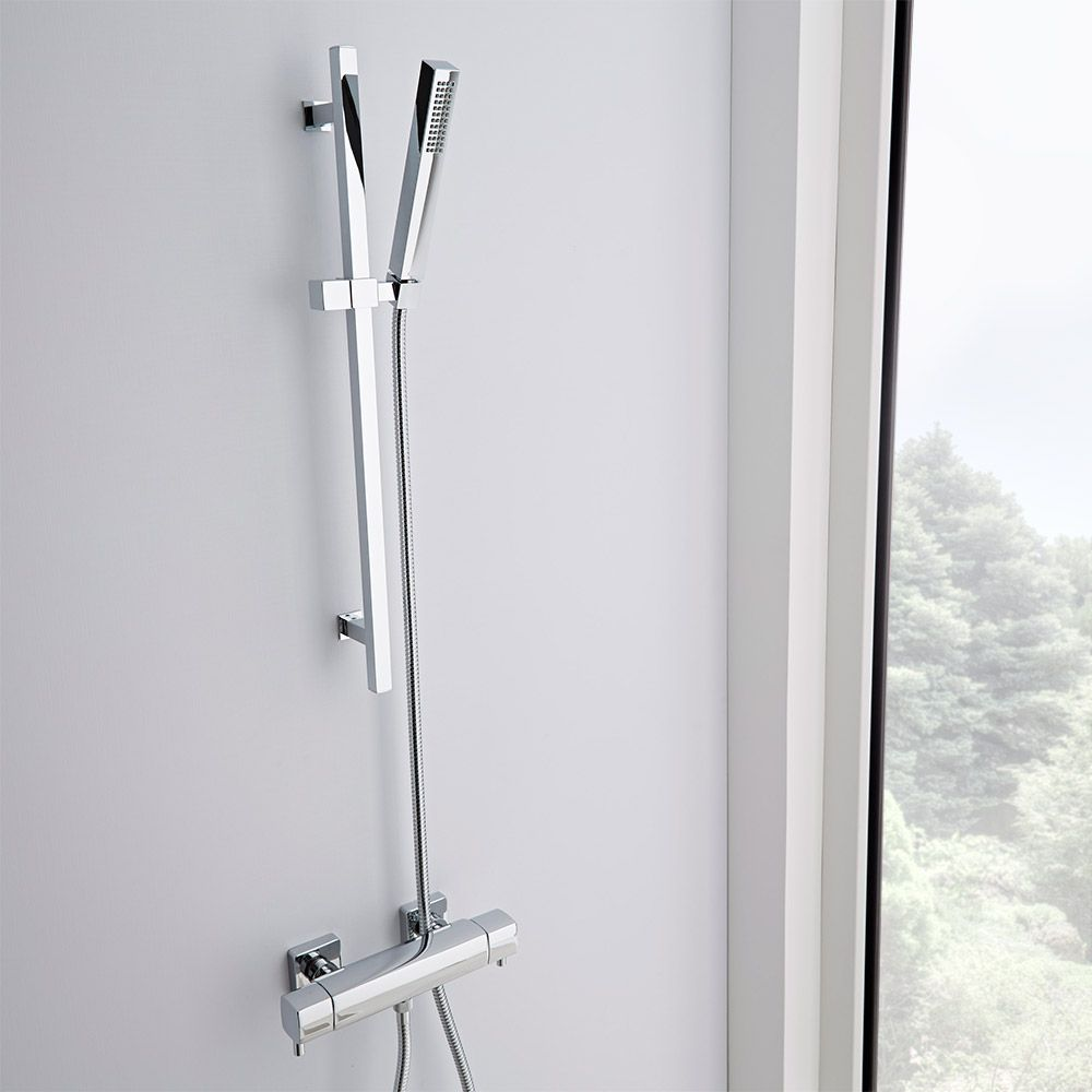 Square Thermostatic Chrome Bar Shower Valve Faucet with Slider Rail Kit
