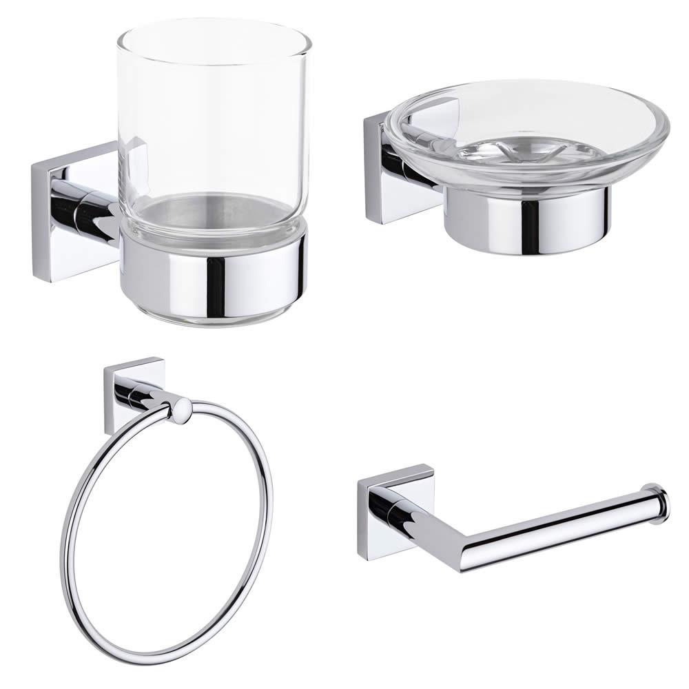 Liso Chrome 4-Piece Bathroom Accessory Set