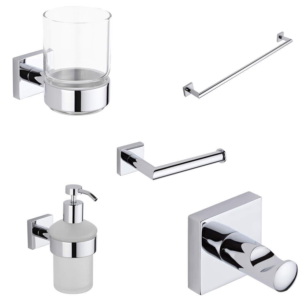 Liso Chrome 5 Piece Bathroom Accessory Set