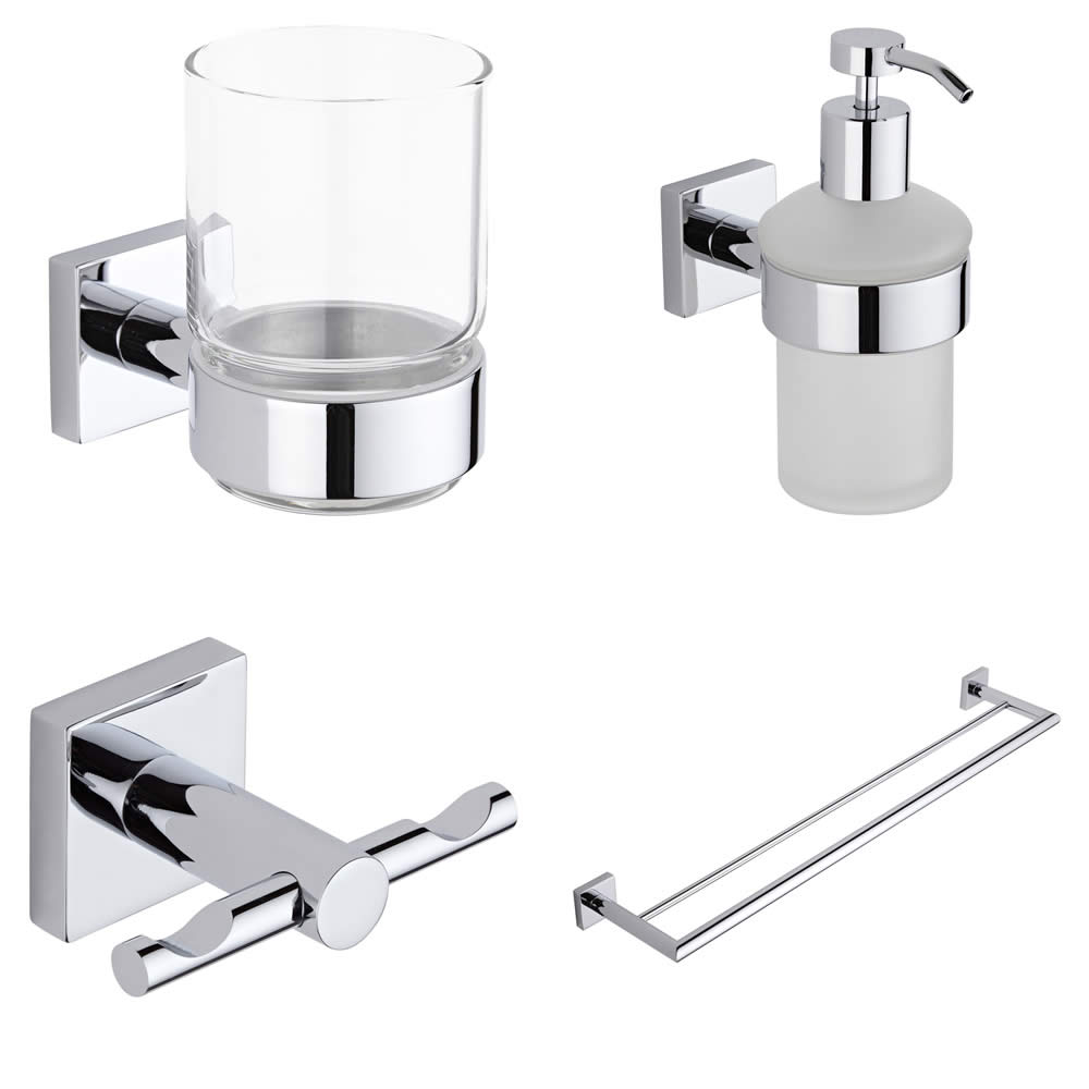 Liso Chrome 4 Piece Bathroom Accessory Set