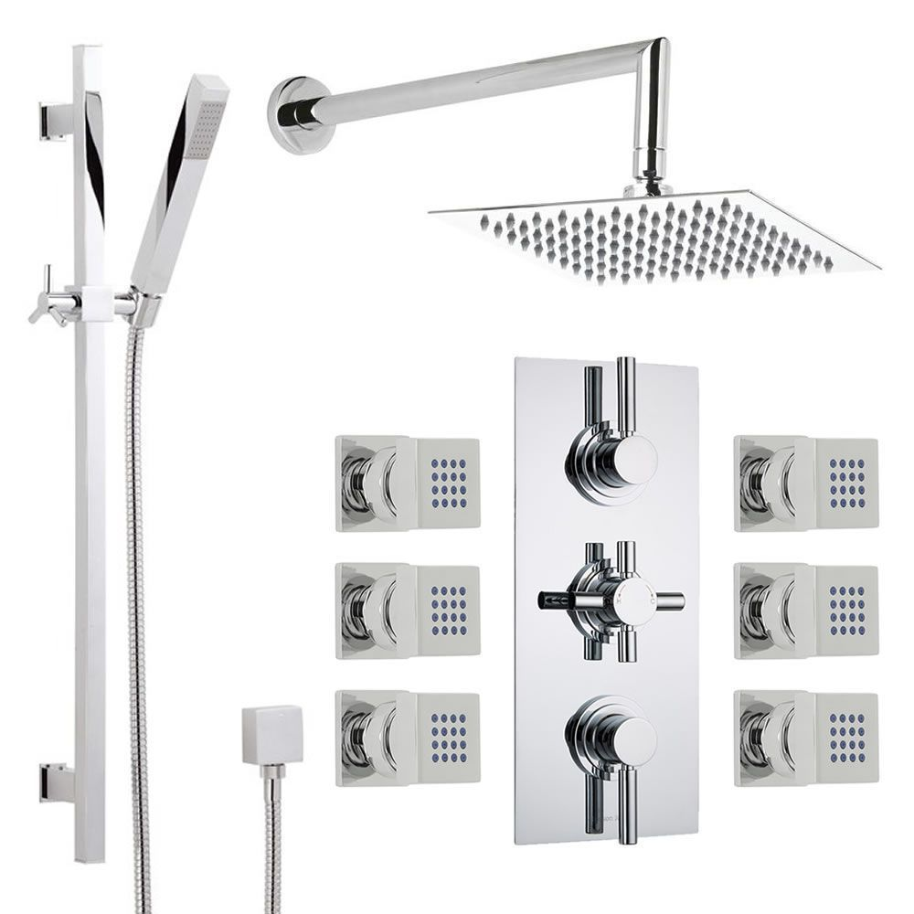 Thermostatic Shower System with Extended Arm, Slide Rail Kit & 6 Body Jets