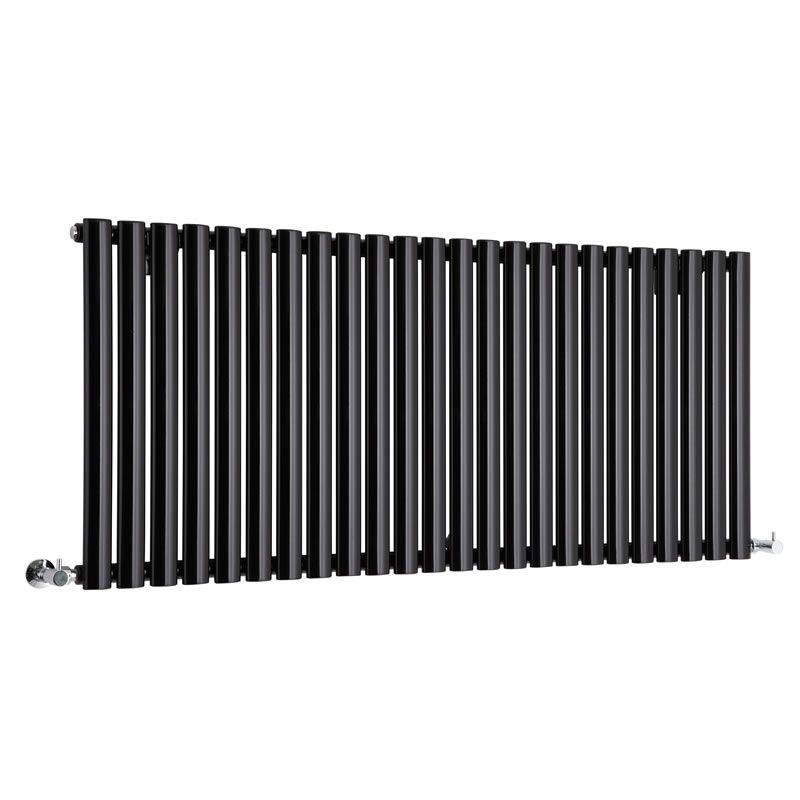 "Revive - Black Horizontal Single-Panel Designer Radiator - 25"" x 55.5"""