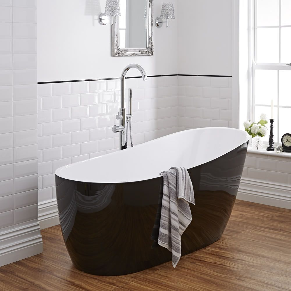 Modern Black Freestanding Single Ended Bath Tub 70\