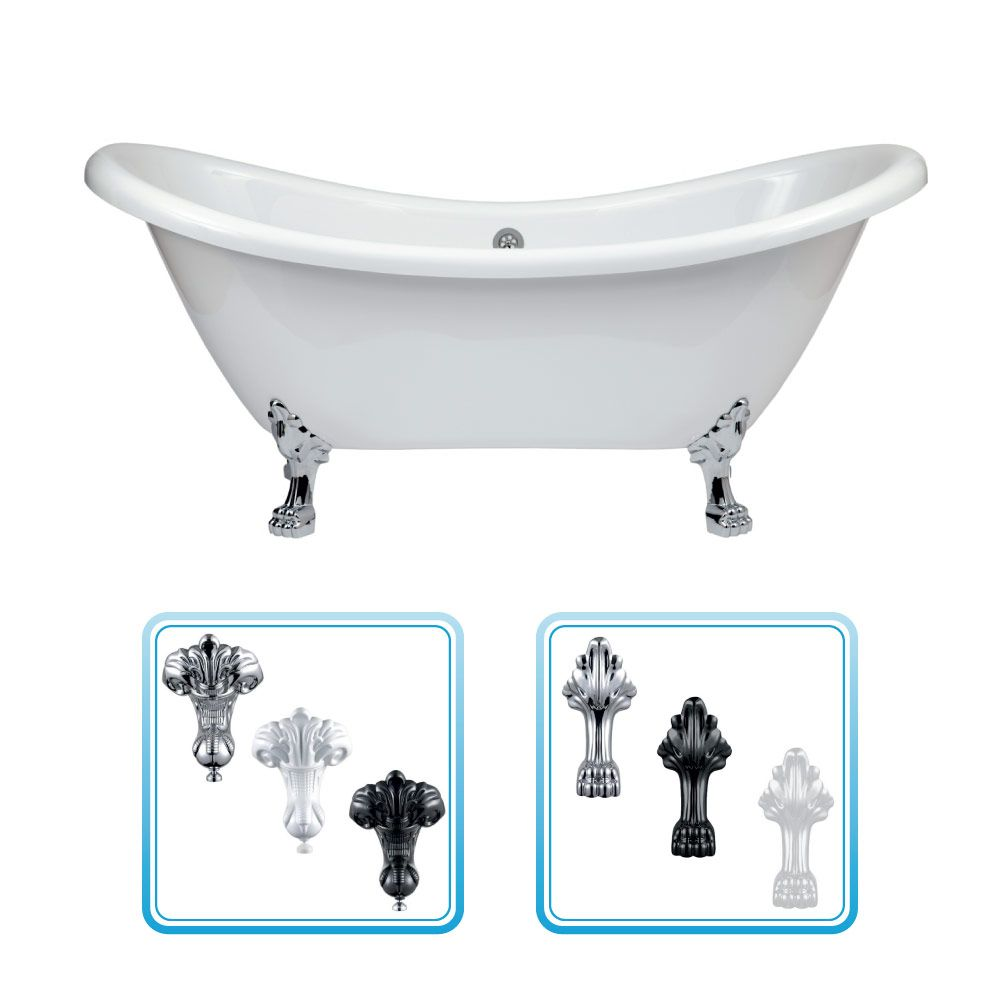 Traditional Acrylic Double Ended Roll Top Freestanding Slipper Bath ...