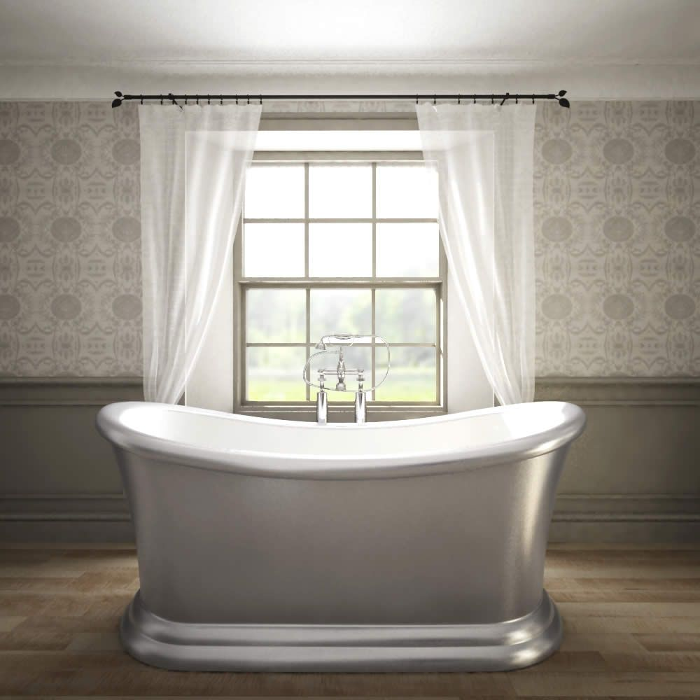 Traditional Silver Freestanding Double Ended Slipper Bath Tub 65\