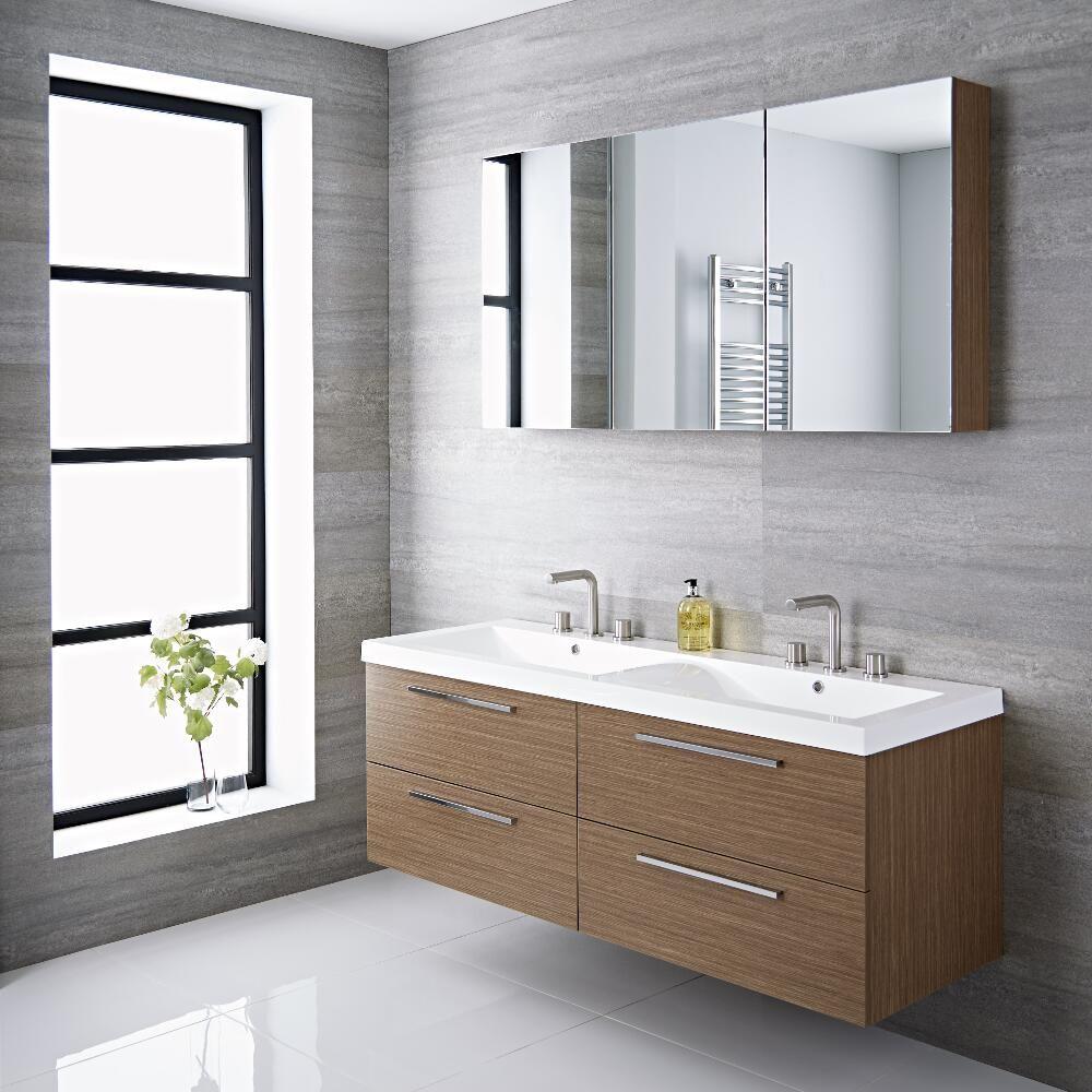 Langley - 55\'\' Oak Double Wall-Mount Bathroom Vanity