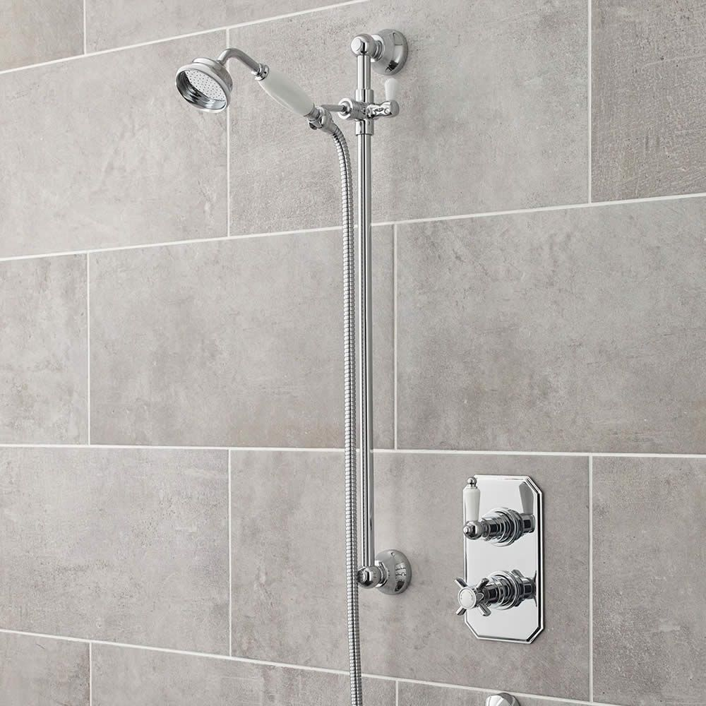 Twin concealed Thermostatic shower valve with Traditional slider ...