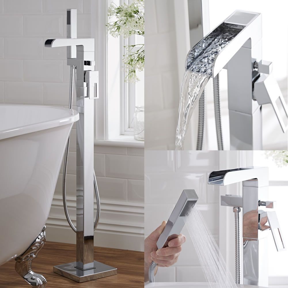 Kubix Freestanding Thermostatic Tub Shower Mixer Faucet & Shower Kit