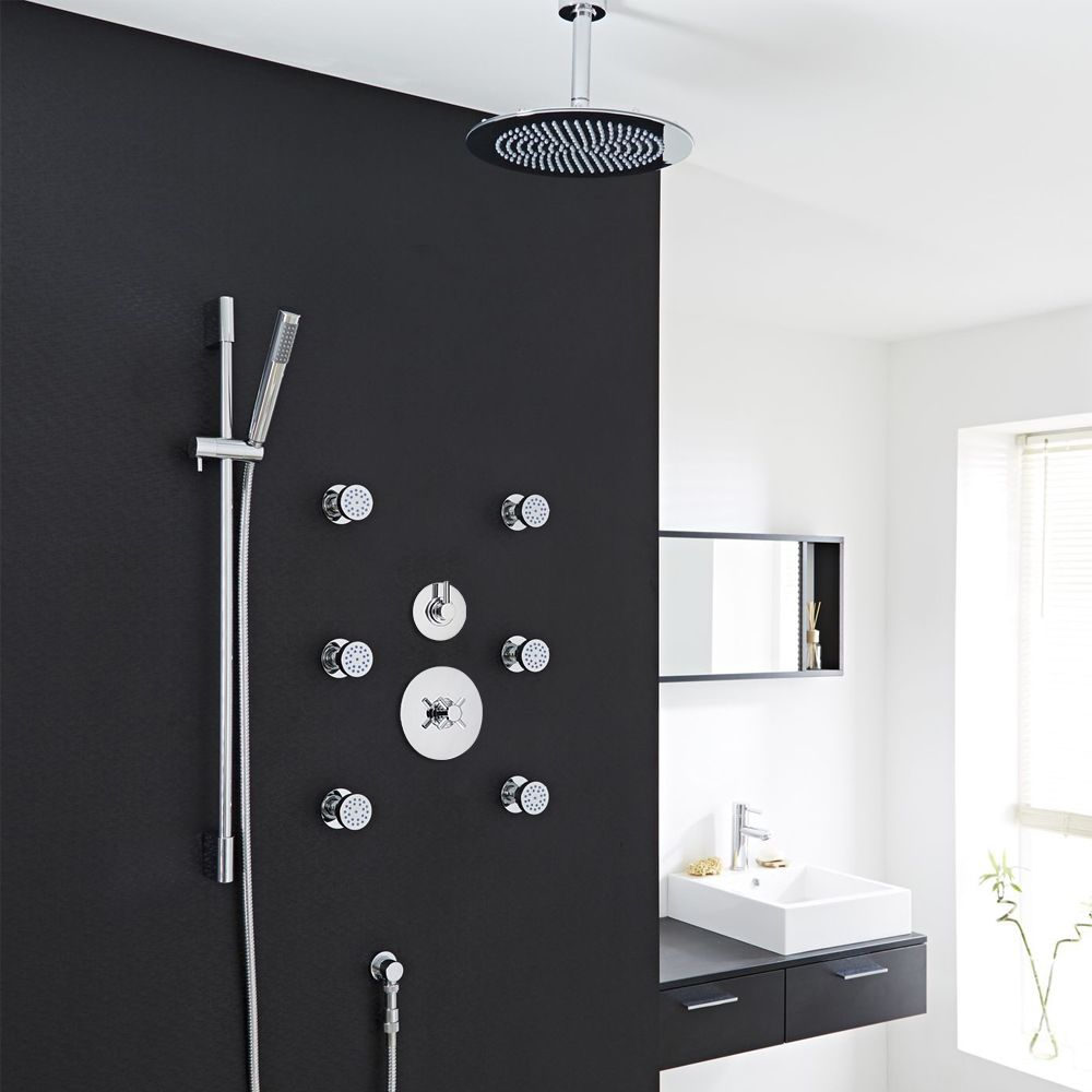 Modern 3-Outlet Shower System with Round Head, Body Jets & Diverter ...