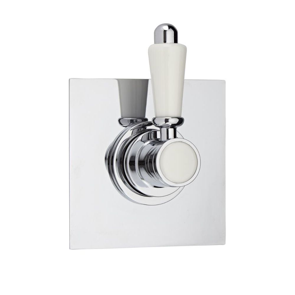 3-Way Diverter Shower Valve with Square Plate and Traditional Lever ...