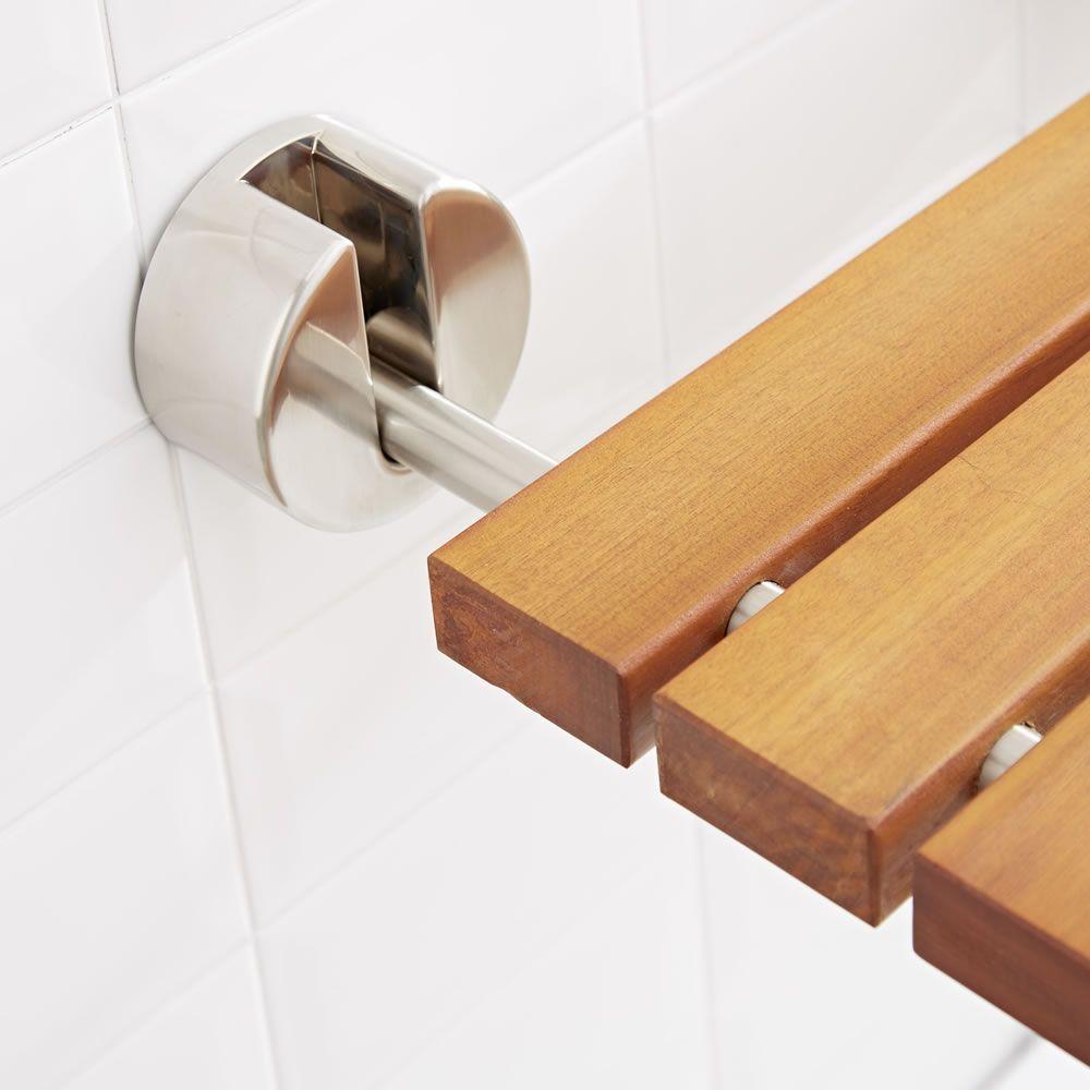 Bengal Teak Wood Luxury Folding Shower Seat With Brushed