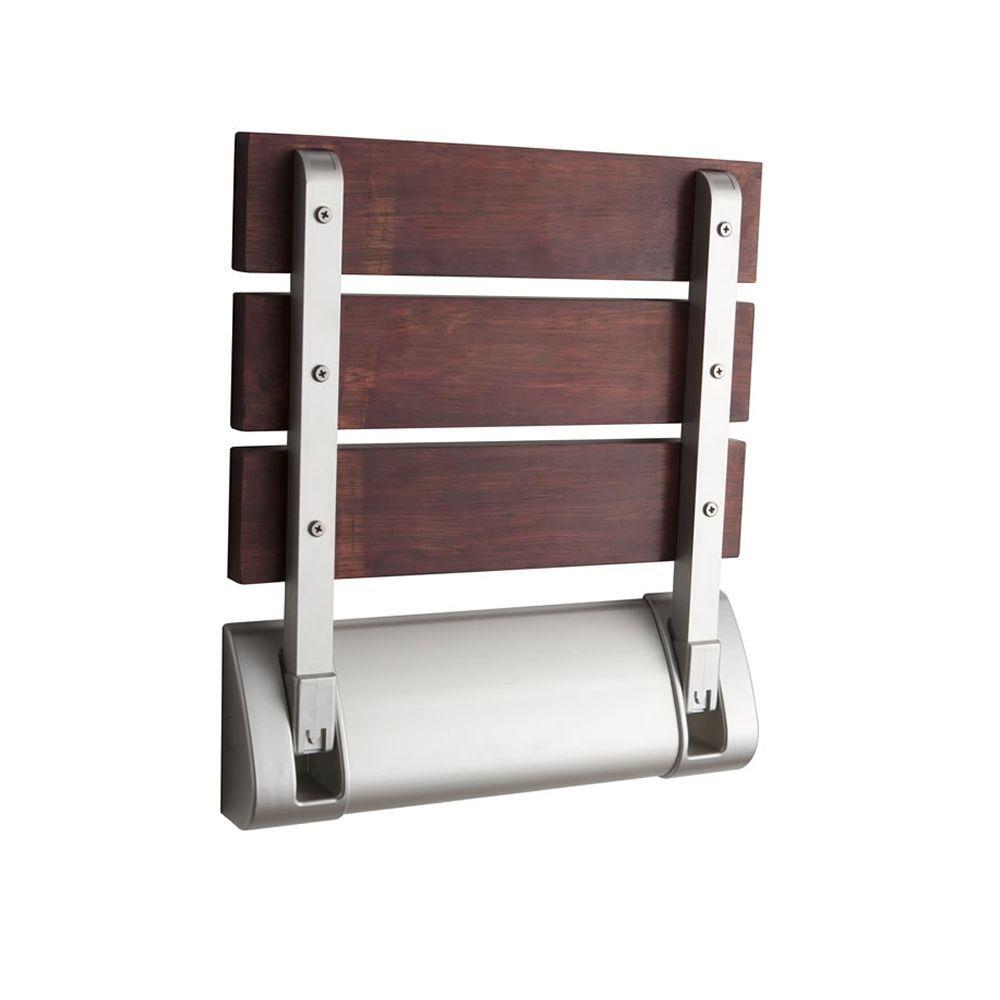 Sapele Wood Folding Shower Seat with Wide Bracket