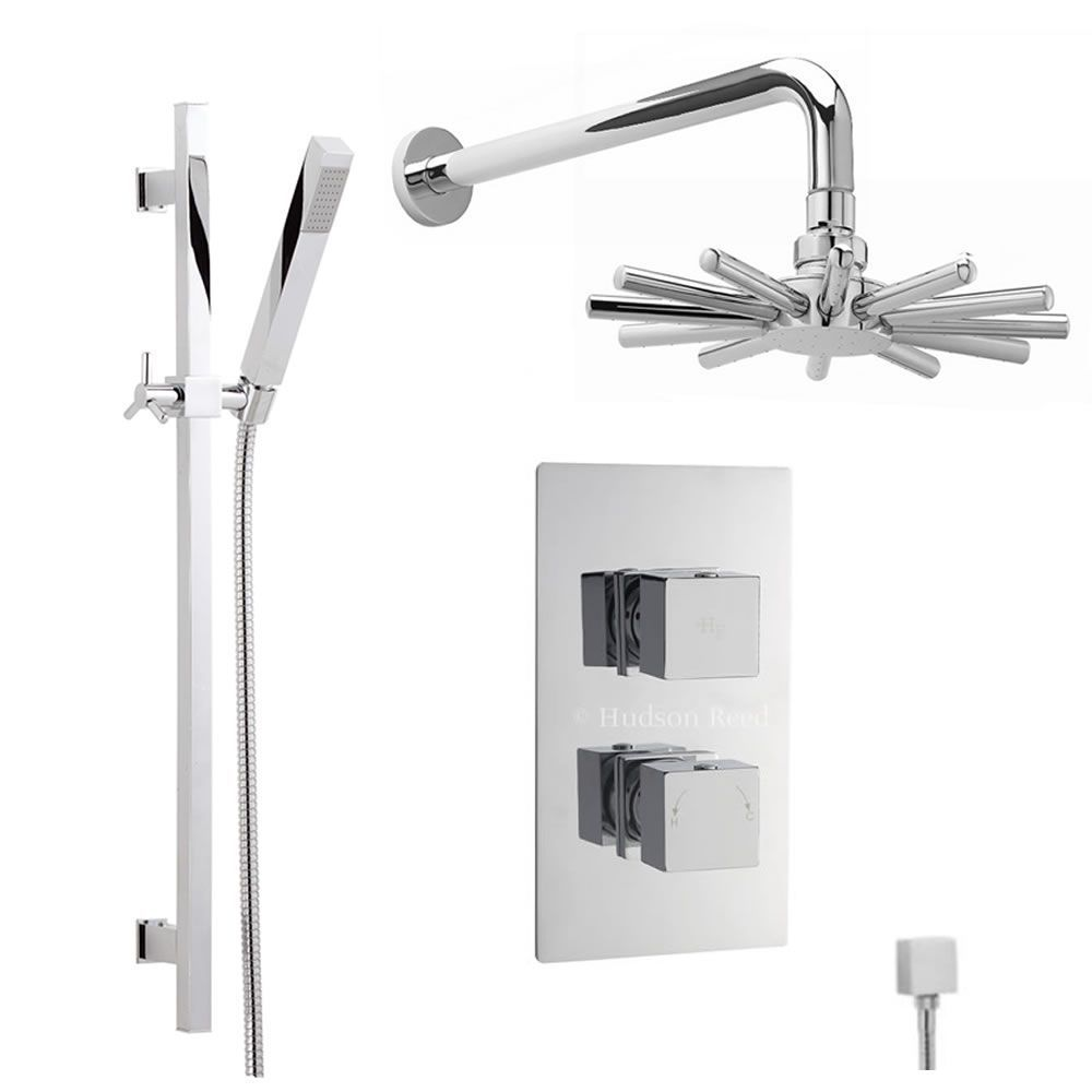 Thermostatic Shower Valve With Divertor 2 Outlets, Cloudburst Head ...