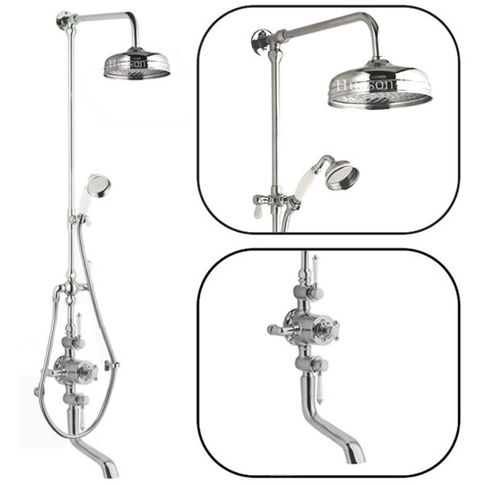 Traditional Thermostatic Shower System with Rigid Riser & Bath Filler