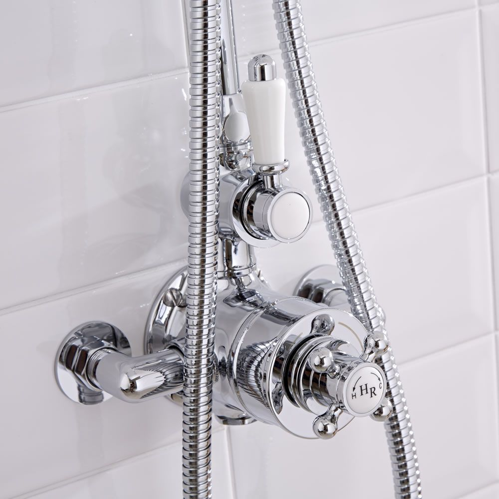 shower faucet kit with valve. Traditional Grand Rigid Riser Kit With Twin Thermostatic Shower Faucet Valve