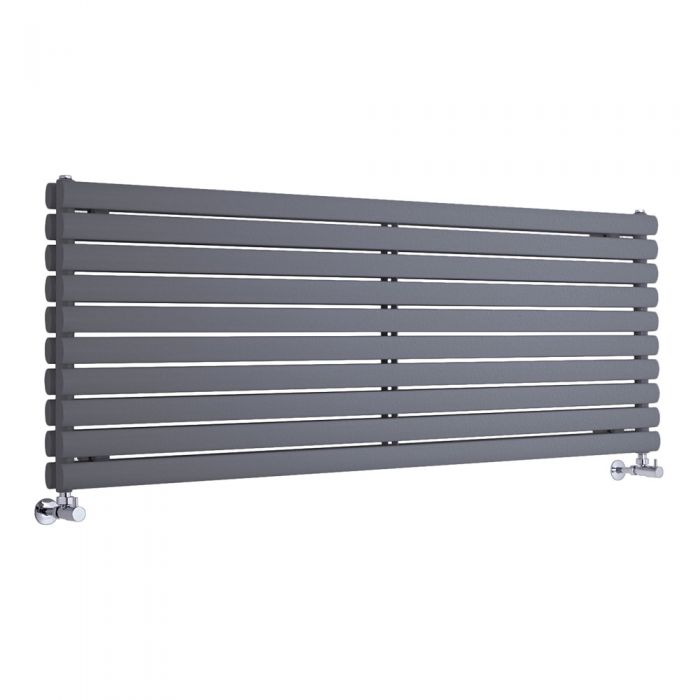 """Revive - Anthracite Horizontal Double-Panel Designer Radiator - 23.25"""" x 63"""""""