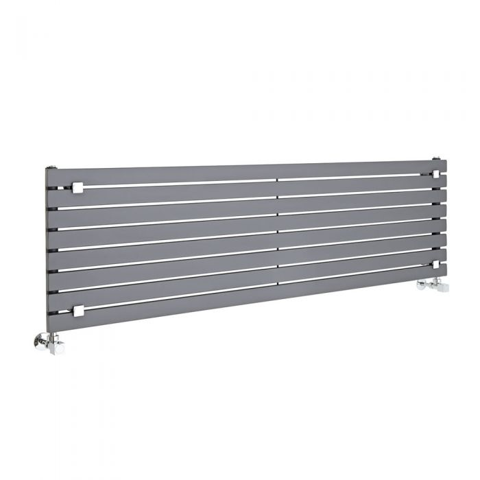 "Sloane - Anthracite Horizontal Single Flat-Panel Designer Radiator - 18.5"" x 63"""