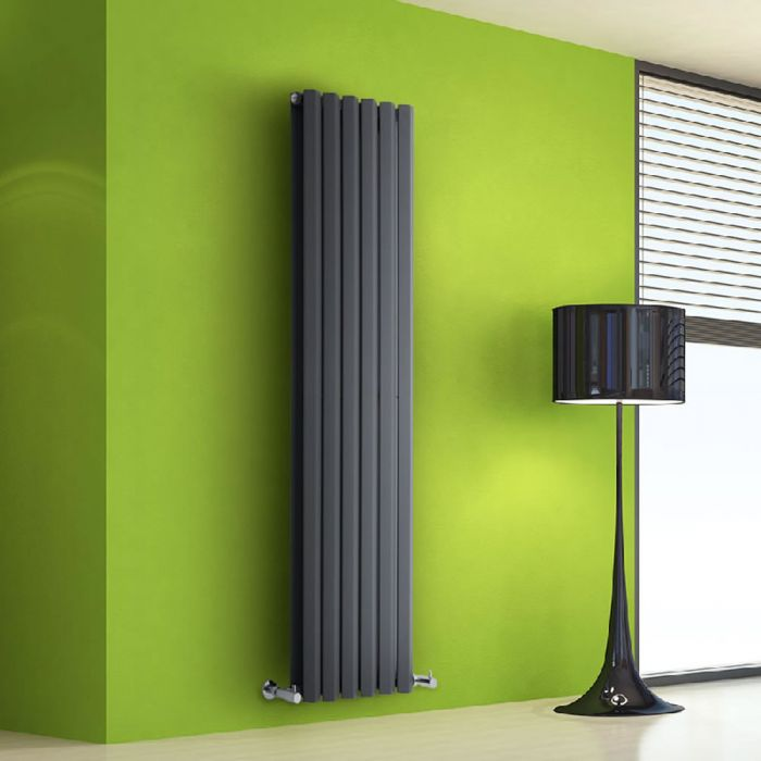 "Edifice - Anthracite Vertical Double-Panel Designer Radiator - 63"" x 16.5"""