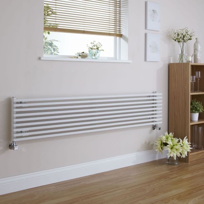 "Fin - White Horizontal Single-Panel Designer Radiator - 13.5"" x 63"""