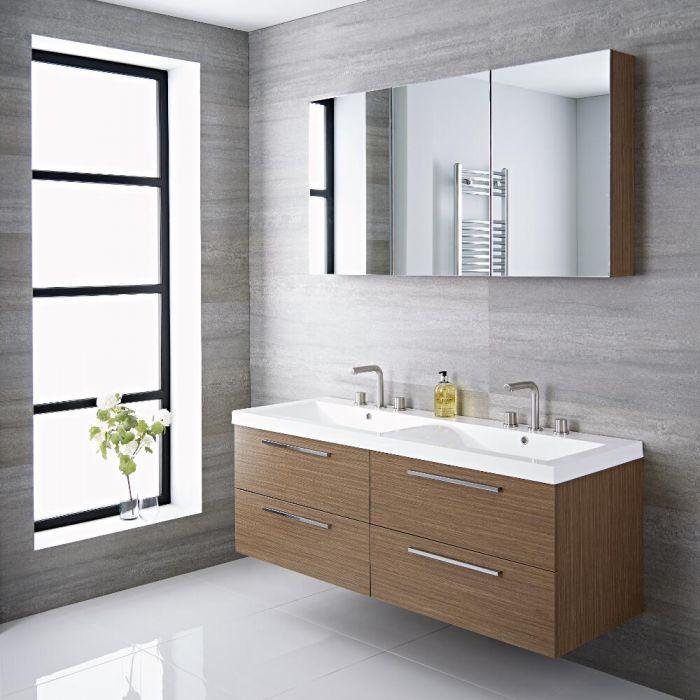 langley 55 oak double wall mount bathroom vanity - Wall Mount Bathroom Vanity