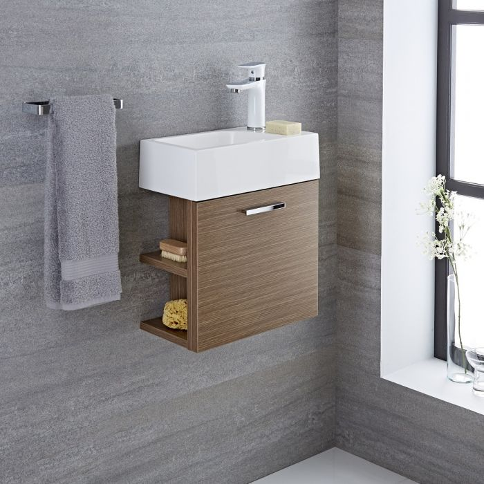 Langley - 16'' Oak Wall-Mount Bathroom Vanity