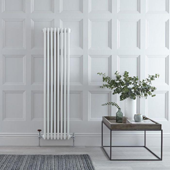 "Regent - White Vertical 3-Column Traditional Cast-Iron Style Radiator - 59"" x 15"""
