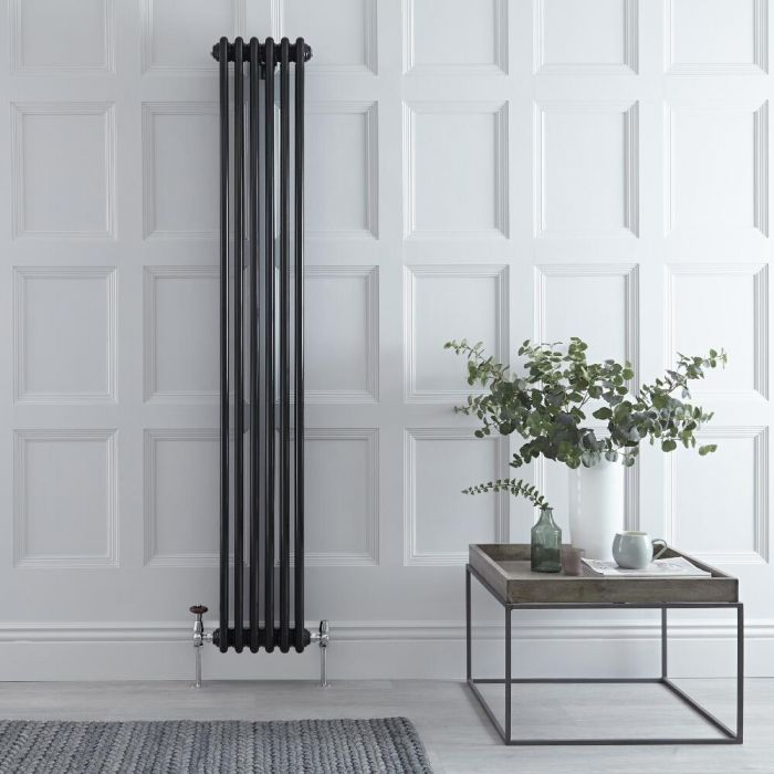 "Regent - Black Vertical 3-Column Traditional Cast-Iron Style Radiator - 70.75"" x 11.5"""