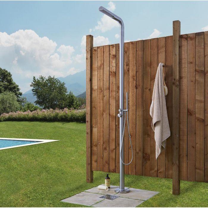 Lugo - Freestanding Outdoor Shower with Handshower - Brushed Steel