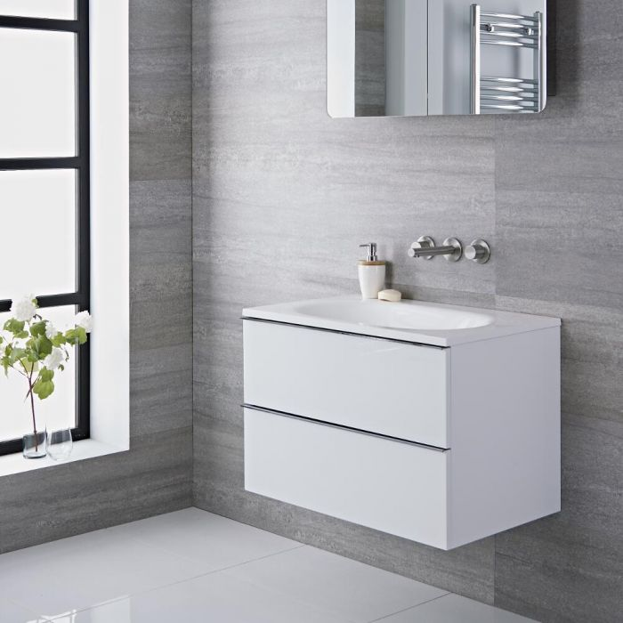 Randwick - 30'' White Wall-Mount Bathroom Vanity
