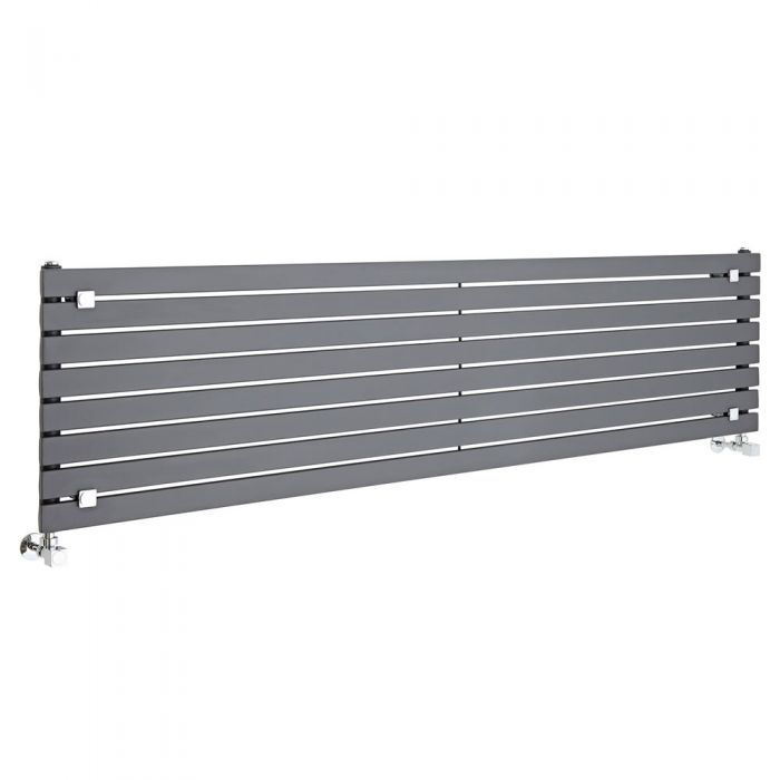 "Sloane - Anthracite Horizontal Single Flat-Panel Designer Radiator - 18.5"" x 70"""