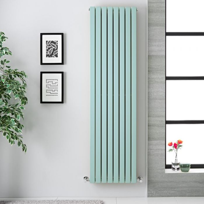 "Sloane - Mint Green Double Flat Panel Vertical Designer Radiator - 70"" x 18.5"""