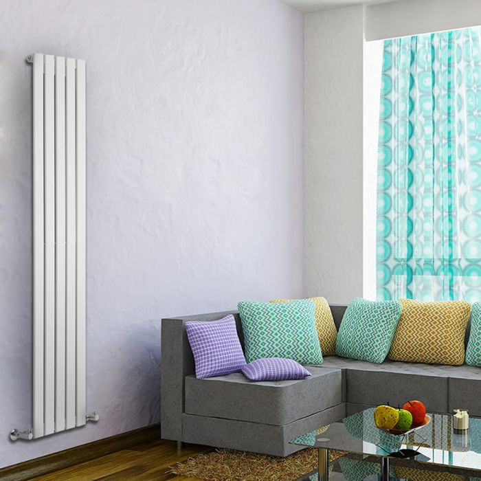 "Delta - White Vertical Single Slim-Panel Designer Radiator - 70"" x 13.75"""