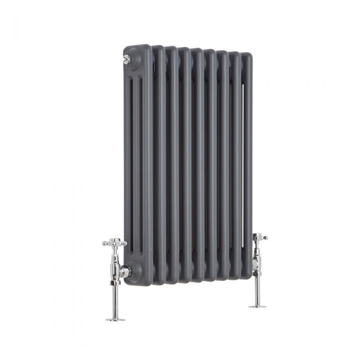 "Regent - Anthracite Horizontal 3-Column Traditional Cast-Iron Style Radiator - 23.5"" x 16"""