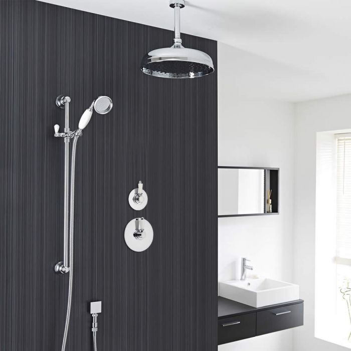 "Traditional 2-Outlet Shower System with 12"" Apron Head, Hand Shower & Diverter Valve"